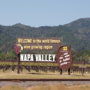 Famous sign in Napa Valley welcoming people to the region