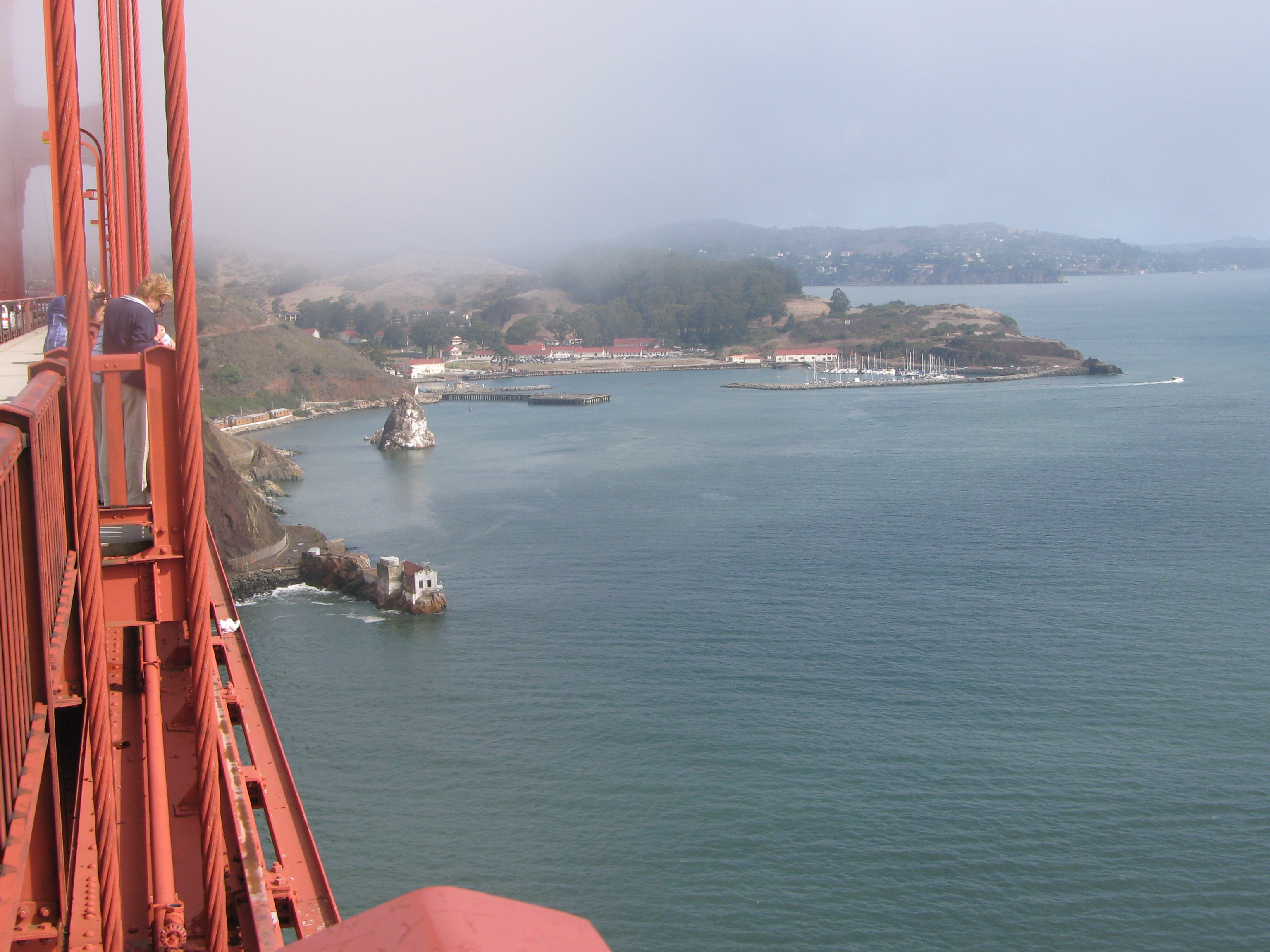 A view from the Golden Gate Bridge to Sausalito