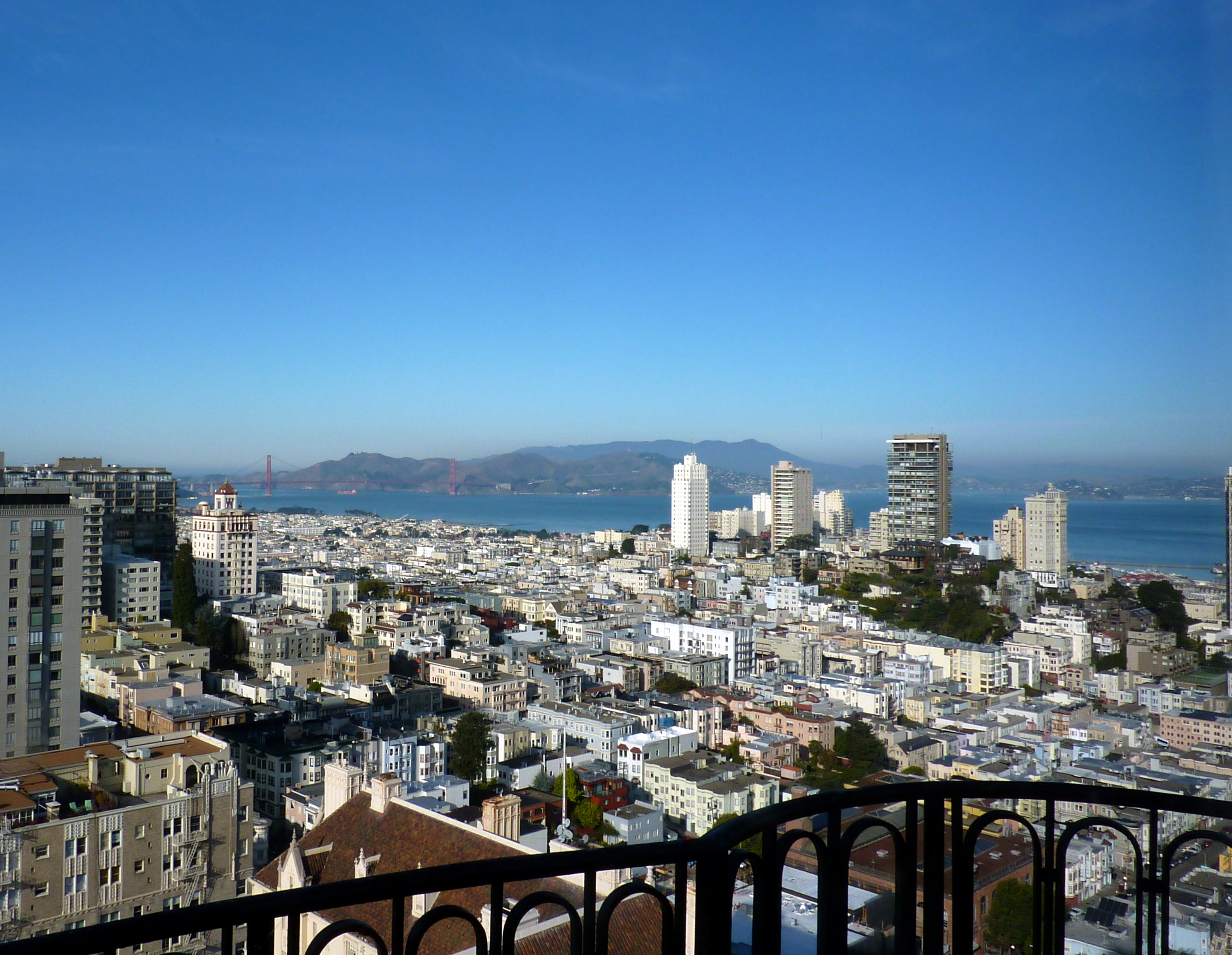 View of San Francisco from the top of the St. Francis Hotel in Union Square