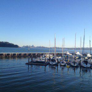 Boats docked on San Francisco Bay in Sausalito Harbor