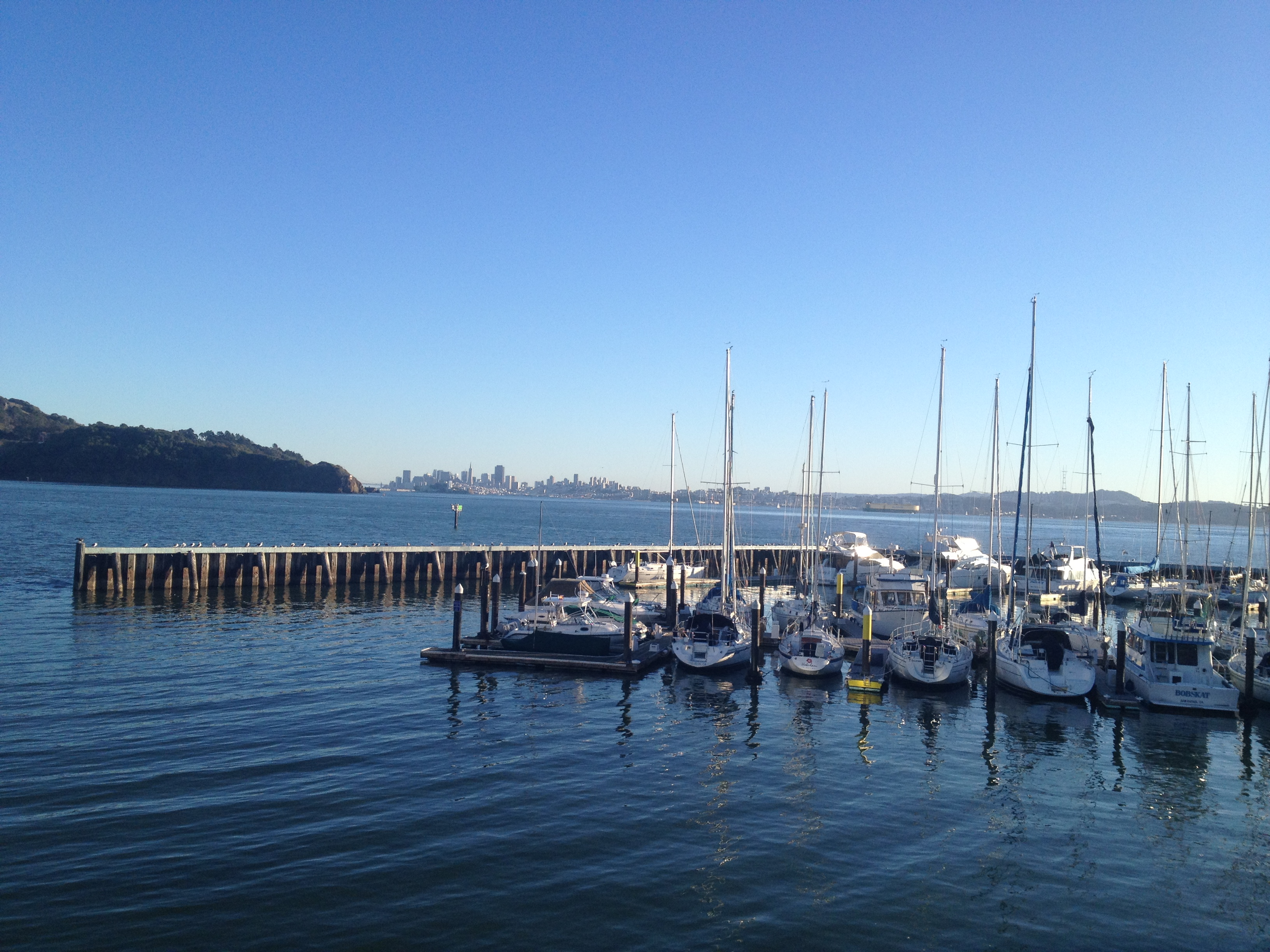 Boats docked on San Francisco Bay in Sausalito Harbor