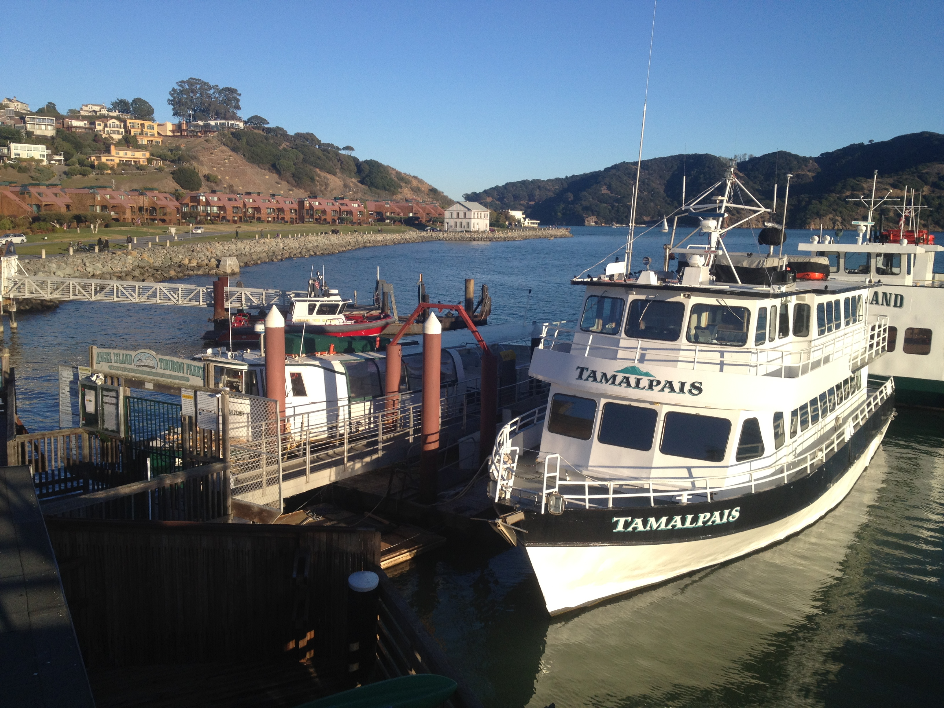 Ferry boat docked in Tiburon on San Francisco Bay