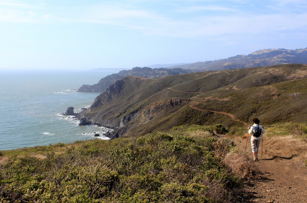 A runner on the coastal trail between Sausalito and Muir beach